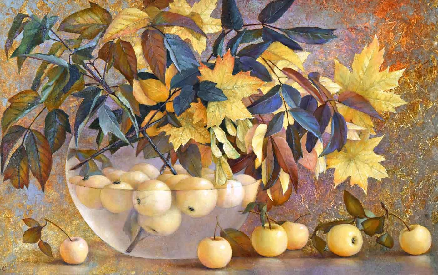 Картина Яблоки и листья