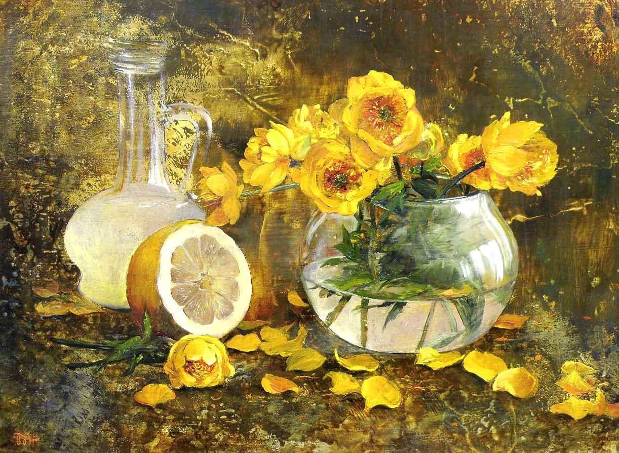 Картина с желтыми цветами