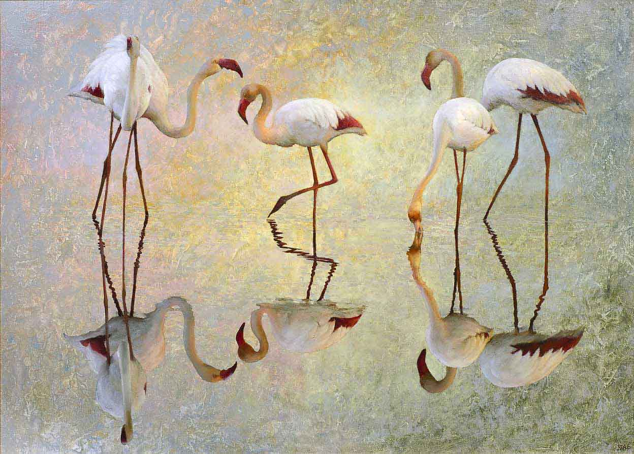 Картина с фламинго