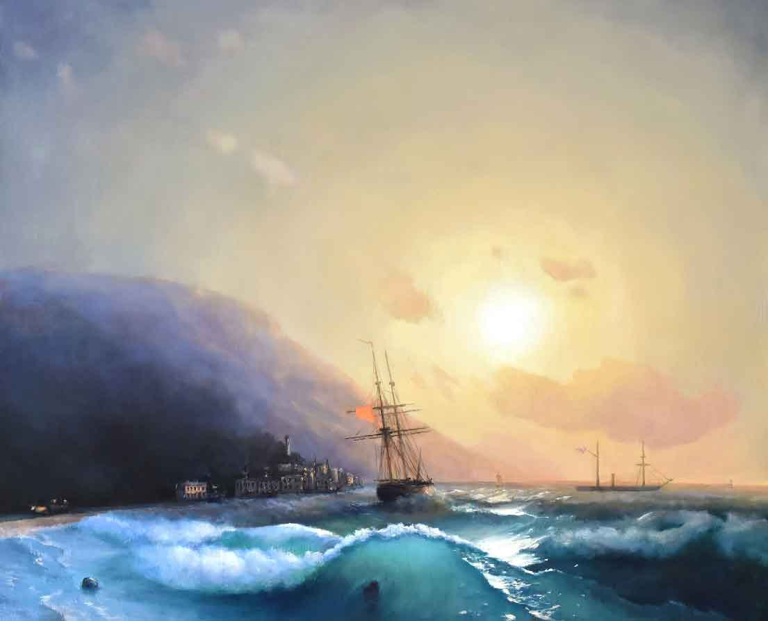Картина море корабль