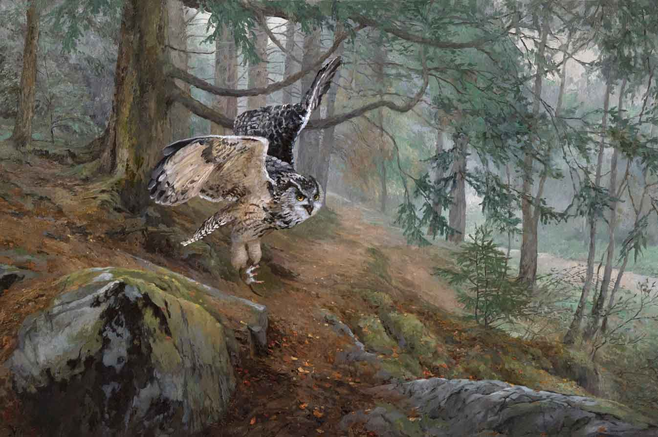 картина летящая сова в лесу, автор Елена Бартенева